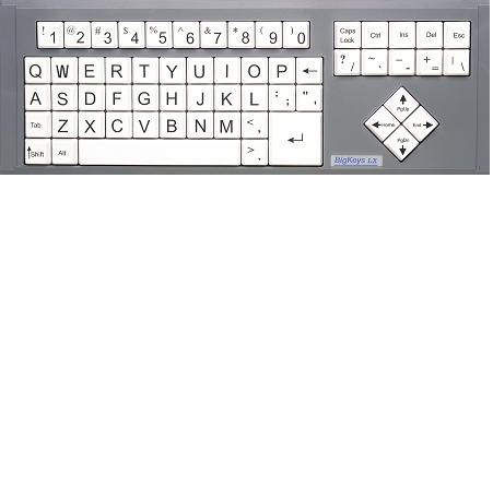 Big Keys LX (black letters, white keys, QWERTY arrangement)